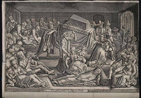 The_plague_in_Leiden_in_1574;_a_doctor_examines_a_urine_flas_Wellcome_V0010590