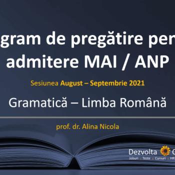 gramatica pentru admitere ANP / MAI (politie, jandarmi)