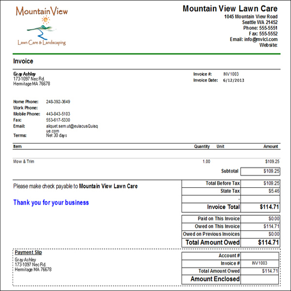 lawn mowing invoice template free