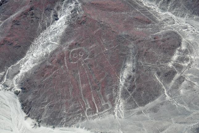 """Der """"Astronaut"""" ist eine der Nazca-Figuren. Manche sagen, er sei ein Kunstwerk Außerirdischer."""