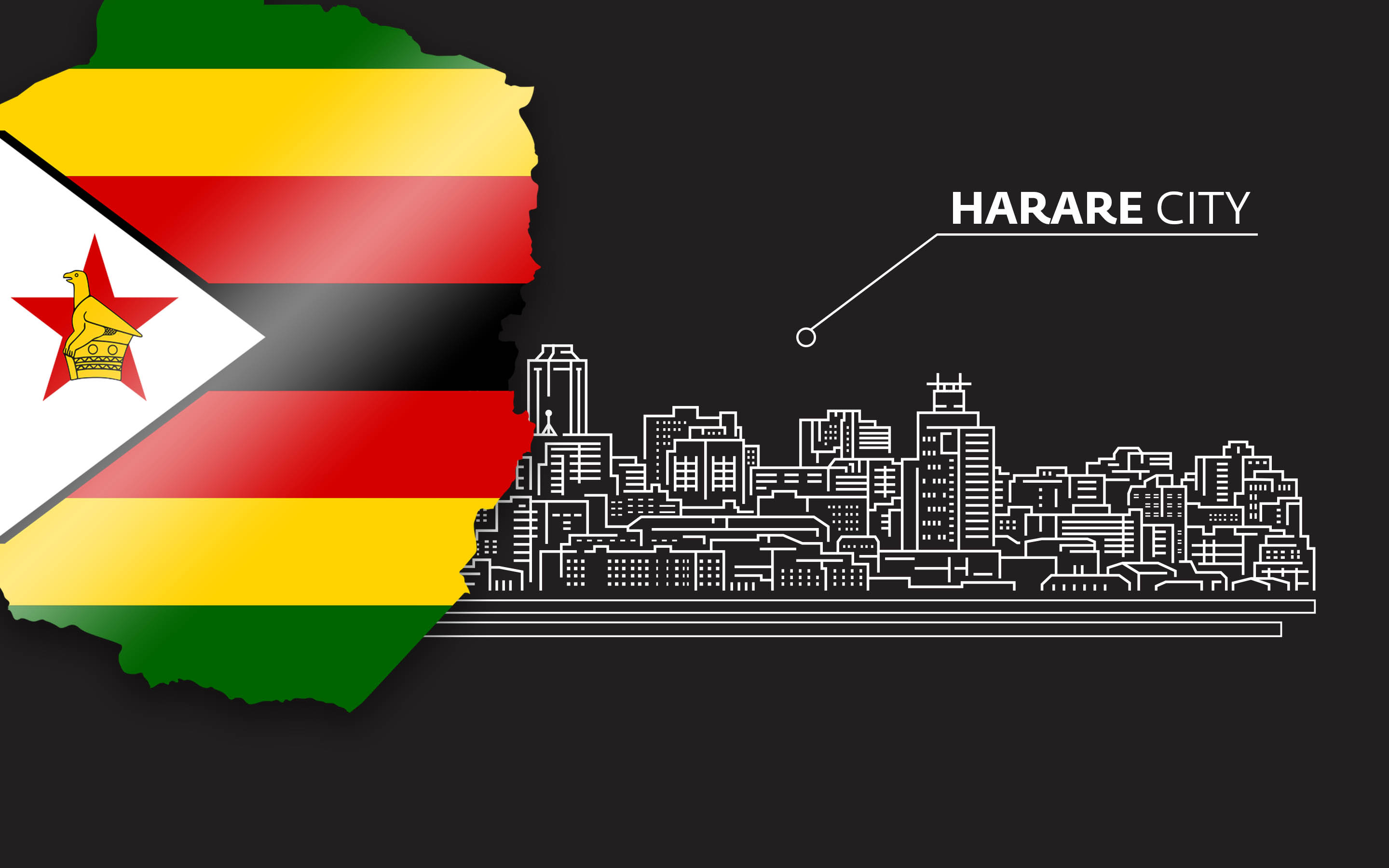 Outline of Harare, Zimbabwe, with Zimbabwean flag overlay