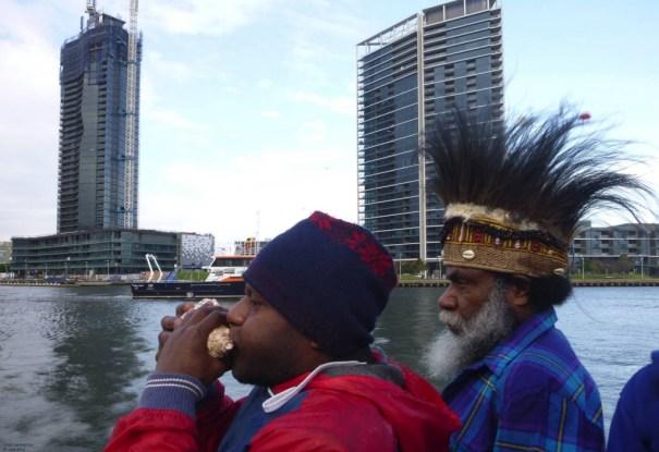 On The Blackbird, Piter Elaby blowing tabura (the traditional Melanesian call to ceremony) with Mesak Karubaba