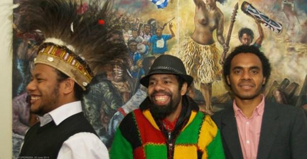 Melkias Okoka, Anton Rumbiak, Ucak Felle (DFAIT office staff) in front of 'Liberty Papua leading the People (after Delacroix)' by Peter Woods (2011).