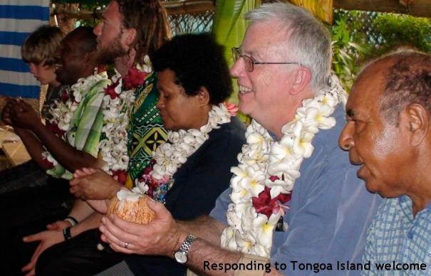 Responding to Tongoa Island Community welcome (Domingos Arrongear, Peter Woods, Jimmy Cocking, XX, Alfonse Adadika, Kieran Byrne