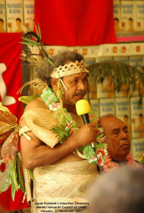 Jacob Rumbiak, Paramount Chief, Maraki Vanuariki, with Domingus Arronggear