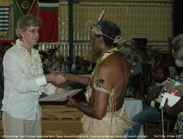 Gift Exchange, Chief Shem Rurua, Australia West Papua Assoc (WA)