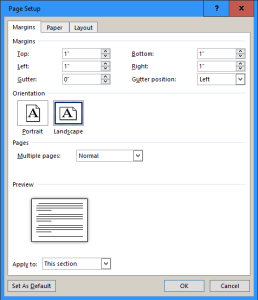 landscape part of a Word document by selecting Landscape from this dialog box.