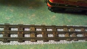 Modern Lionel O27 track with salvaged ties from postwar track added