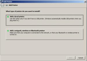 DD-WRT USB print server step 3 Win7