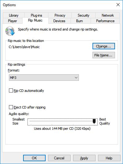 320kbps bitrate MP3s in Windows Media Player in Windows 10