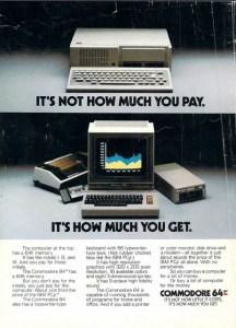 Commodore 64 vs IBM PCjr ad from 1985