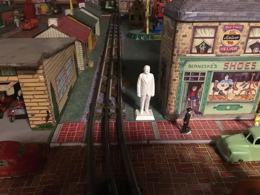 Marx president figurine on a train layout