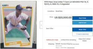 Jose Uribe baseball card value