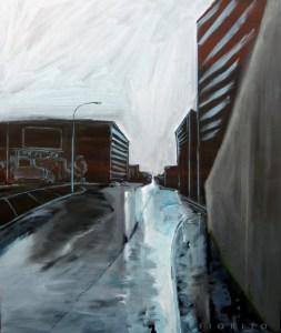"""""""Chemin d'usine II"""" 10-2013. Acrylique sur toile. 40x48 po (101,6x121,9 cm)"""