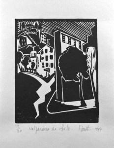 Valparaiso de Chile. 1997. Linogravure sur papier Canson. Image 4 x 5 po. (10 x 12,7 cm). Disponible/Available.