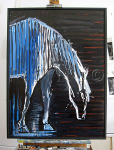 ''Cheval zébré bleu, 2011''. Huile sur toile. 36 x 48 po. (91 x 122 cm)