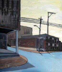 """VENDU- """" Chemin d'usine I """" 2012. Acrylique sur toile 40x48 po (101,6x121,9 cm)."""