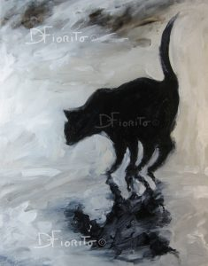 """VENDU- """"Chat noir, 19-08-2014. Acrylique sur toile. 14x18po. (36x46cm)."""
