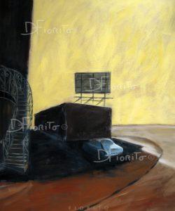 """""""L'escalier, 02 juillet 2013"""". Acrylique sur toile. 40 x 48 po. (102 x 122 cm)."""