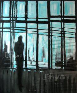 """""""Silhouette en bleu et noir, 10-2012"""". Acrylique sur toile. 40 x 48 po. (102 x 122 cm)."""