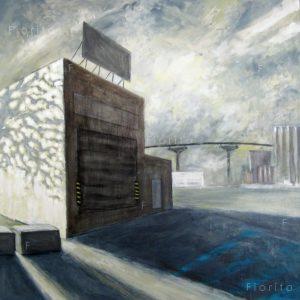"""""""Chemin d'usine IV"""", 02-2018 Acrylique sur toile, 36 x 36 po. (91,5 x 91,5 cm)."""
