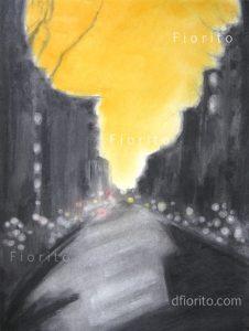 """""""La rue, 02 mai 2018"""". Fusain et pastel sec sur papier Canson 18 x 24 po. (45,7 x 60,9 cm)."""