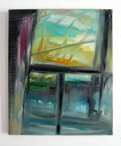 """""""Fenêtre, 1996"""". Huile sur toile, 16 x 20 po. (40,6 x 51 cm)."""