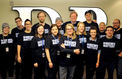 DENVER, CO. - MARCH 23: Guild members at The Denver Post wear News Matters shirts in support of winning wage increases during contract negotiations with Digital First Media. (Photo By Patrick Traylor/The Denver Post)