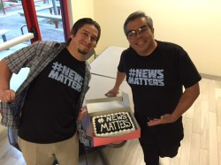 Monterey Herald reporters Tommy Wright and James Herrera with a #NewsMatters cake.
