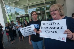 Denver news workers demonstrating last June to show that #NewsMatters. Photo by Patrick Traylor.