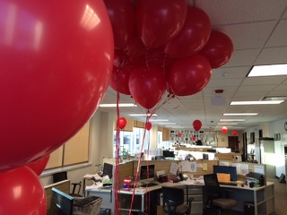 The Detroit Guild Local 34022 purchased red balloons last March that members tied to their chairs and desks, a month before the expiration of the Guild contract with DFM papers The Macomb Daily and Daily Tribune in suburban Detroit (prior to two subsequent contract extensions). Norb Franz