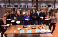 """On Jan. 8, members of the Kingston NewsGuild, who have gone eight years without a pay raise, sent a message to Digital First Media that they """"deserve a bigger piece of the pie"""" by posting flyers calling for a bigger piece of the pie and gathering in the break area to share a piece of Guild-bought pie."""