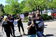 Current and former Denver Post staff and supporters rally against Alden Global Capital outside the paper's office and printing plant in north Denver. (Photo by Patrick Traylor)