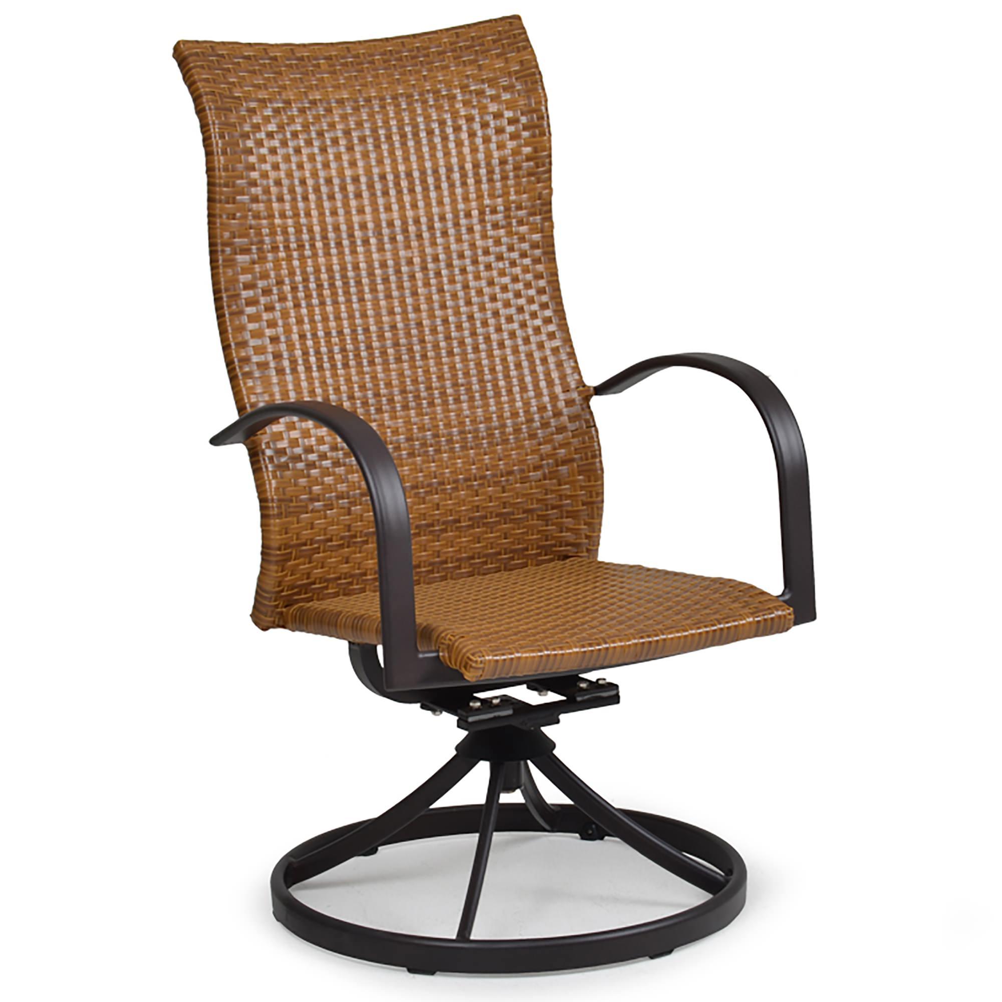 Watermark Living Resin Wicker High Back Swivel Rocker Dining Chair