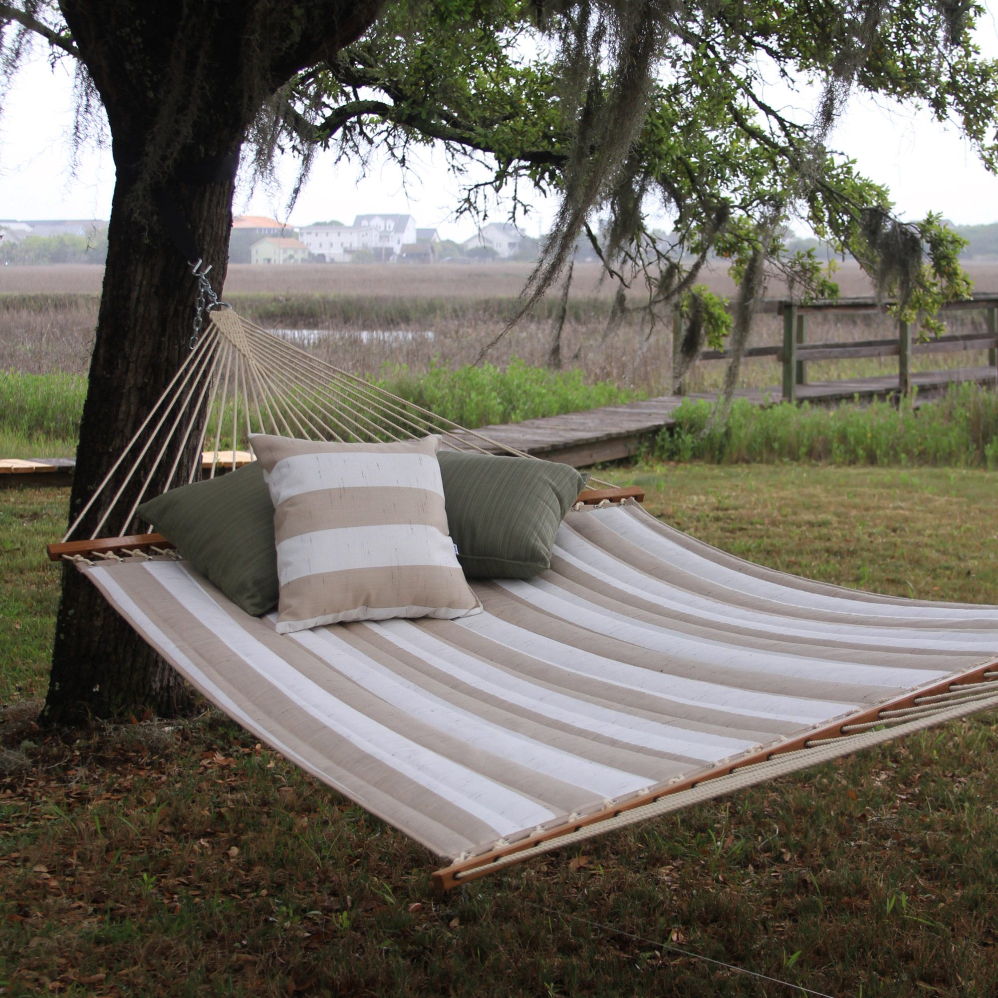 Large Quilted Fabric Hammock In Decade Sand