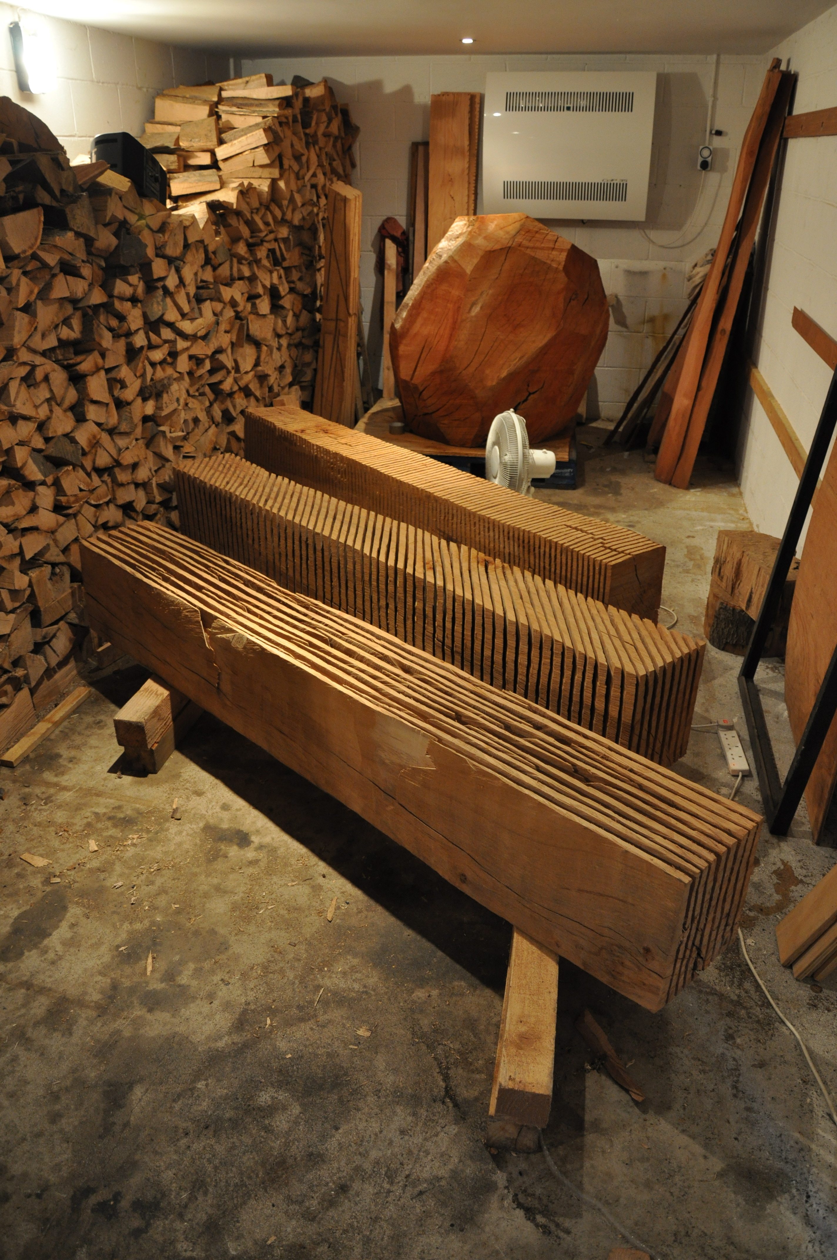 Recent works and winter firewood in the drying room