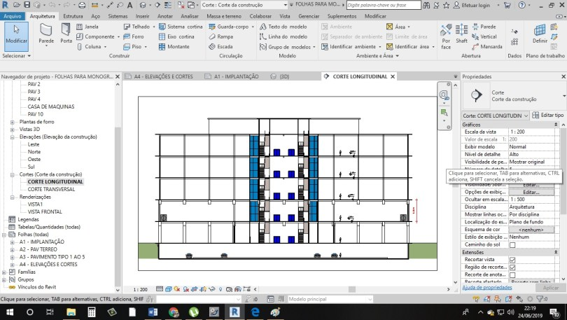 Corte longitudinal feito no Revit