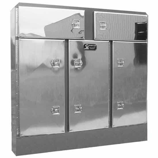 aluminum cab rack with five doors 14 inch deep vault