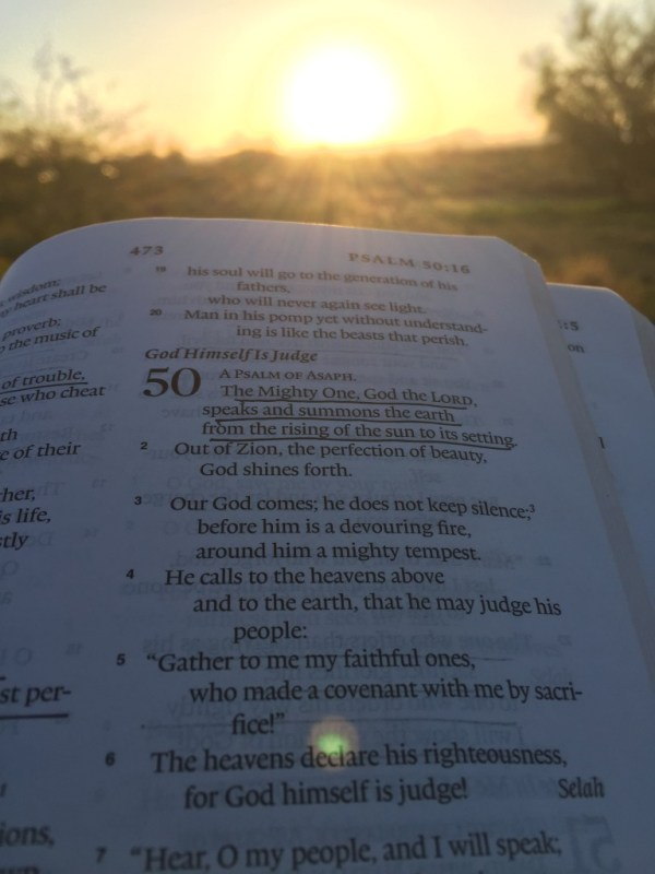 Obligatory Bible-and-sunrise picture.