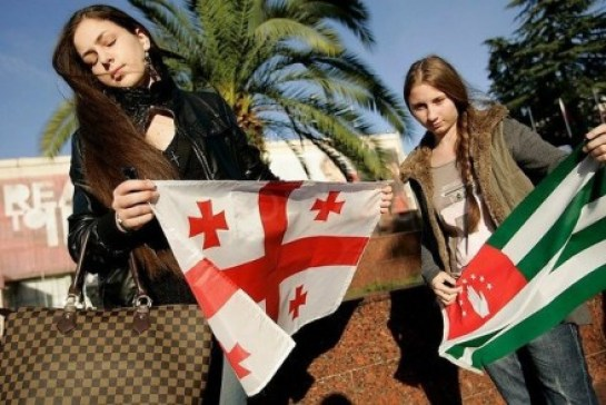 This image allegedly depicting two Abkhaz young women went viral in Georgian social networks two years ago as a proof that Abkhaz do want to live under Georgian jurisdiction. While it's unclear where the picture was taken and by whom, it has been used to weave a misguided nationalist narrative.
