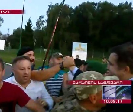 Mikheil Saakashvili burst through the police block