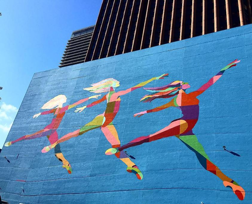 The iconic Sky Dance mural at 1415 Louisiana Street in downtown Houston.