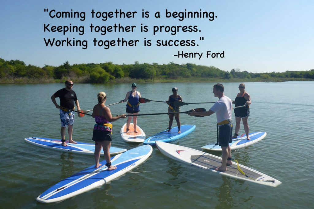 Paddleboard Team Building event with the Denton Recycle Group