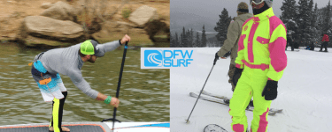 Off-Season paddle boarding tips picture of Rich Stewart and Dallas Socialite Austin McDaniel