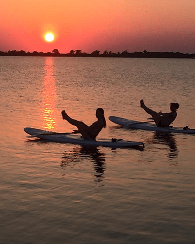 yoga classes on the lake, sunset sup yoga with dfw surf