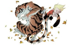 cartoon of boy with tiger by the tail