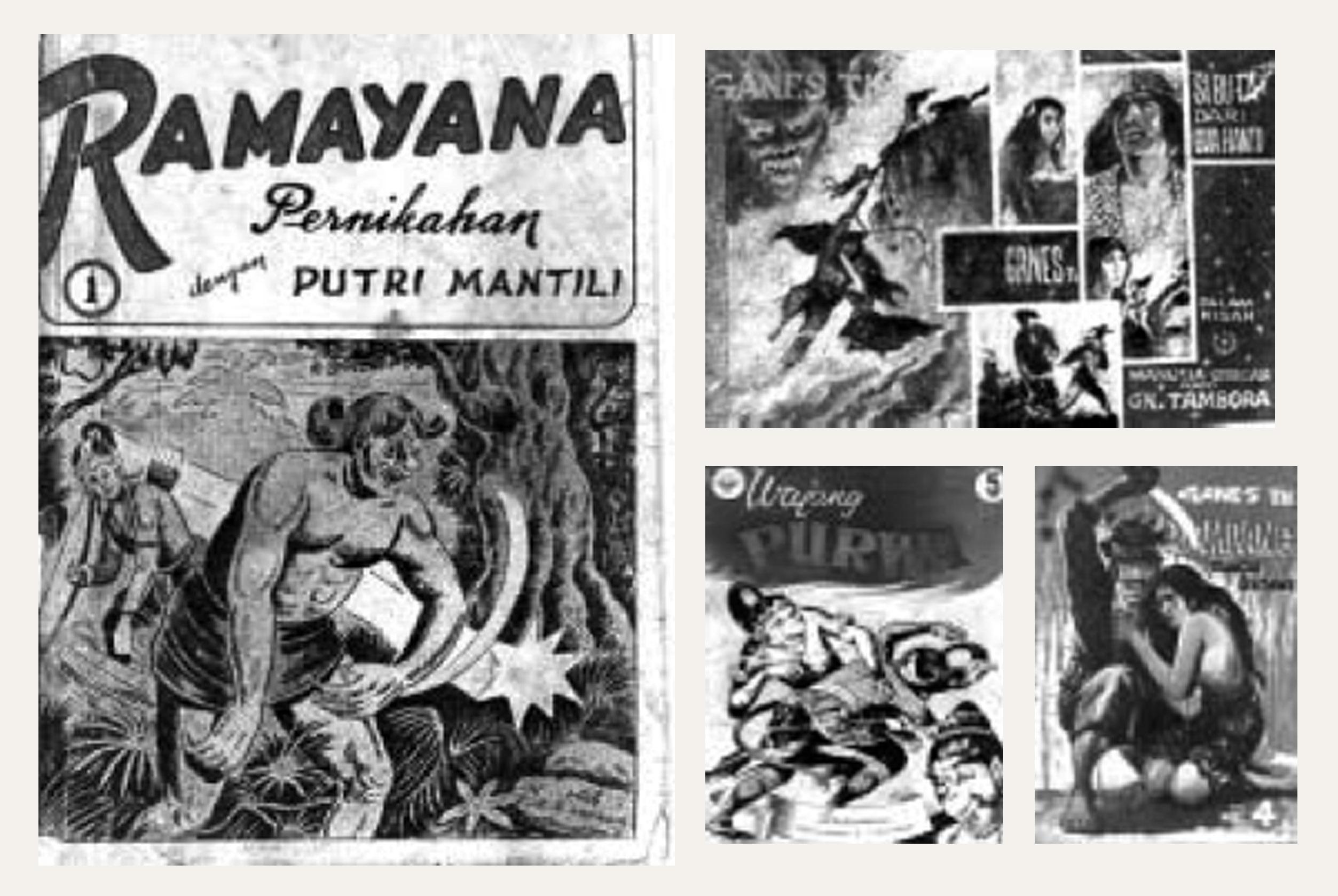 "Gambar 10. (a) Kulit muka buku cergam ""Ramayana"" karya RA.Kosasih tahun 1960- an diterbitkan oleh CV Melodi; (b) Kulit muka buku cergam ""Si Buta Dari Gua Hantu"" karya Ganes Th tahun 1969 diterbitkan oleh PT.RS; (c) Kulit muka buku cergam ""Wayang Purwa"" karya Ardisoma yang terbit tahun 1960-an; (d) Kulit muka cergam ""Si Djampang Jago Betawi"" karya Ganes Th. terbit tahun 1969."