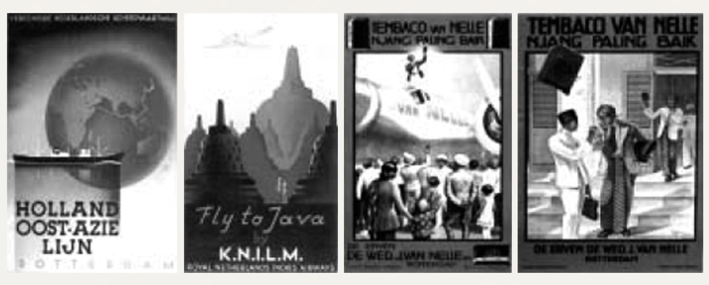 "Gambar 2. (a & b) Iklan wisata ""Holland Oost-Azie Lijn"" karya J.Lavies tahun 1937 dan iklan wisata ""Fly to Java by KNILM"" karya J. Lavies tahun 1937; (c & d) Iklan ""Tembaco van Nelle"" karya M. van Meerteren Brouwer tahun 1932."