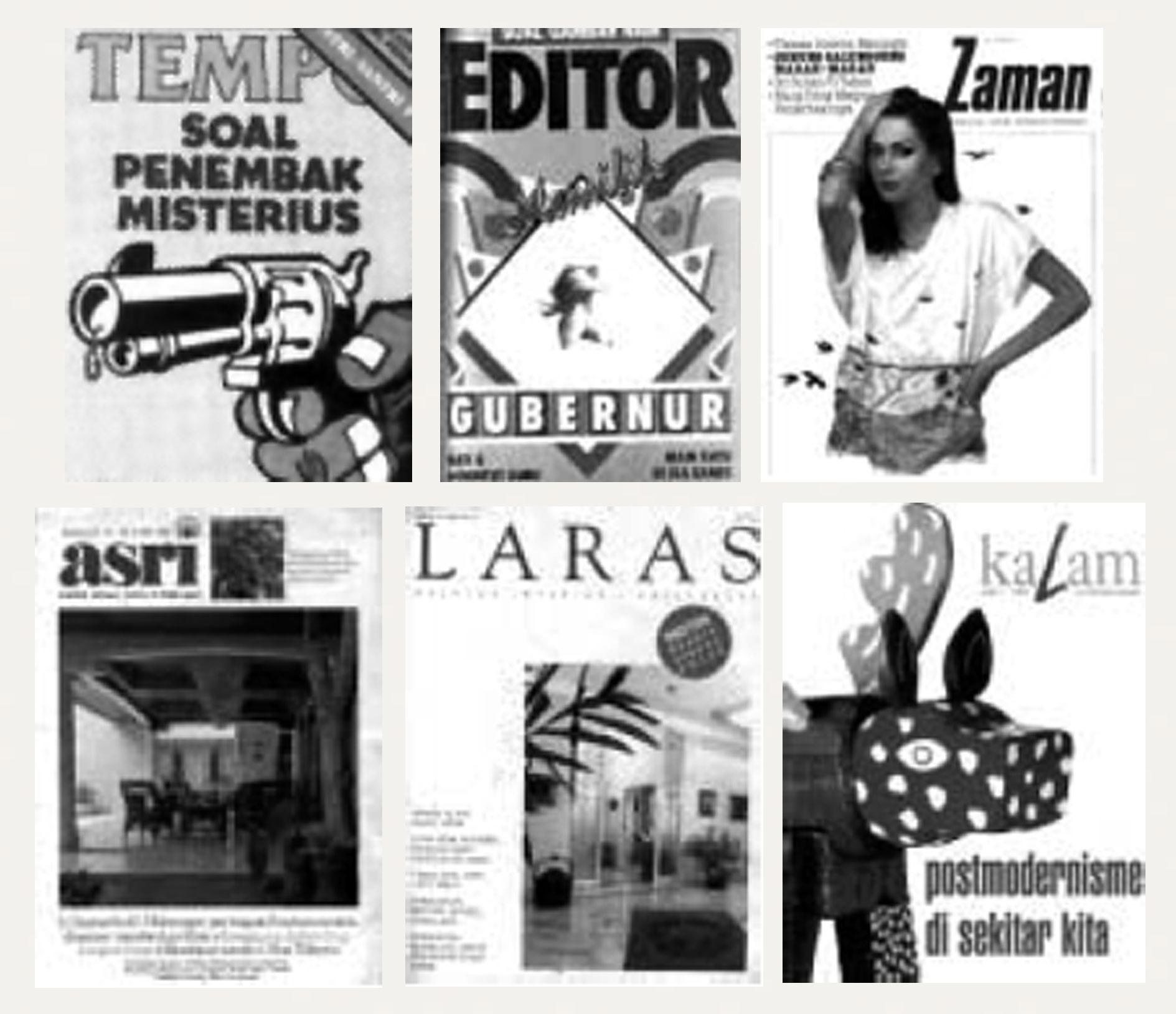 """Gambar 9. (a) Kulit muka majalah """"Tempo"""" tahun 1970-an; (b) Kulit muka majalah """"Editor"""" tahun 1980-an; (c) Kulit muka majalah """"Zaman"""" tahun 1980-an; (d) Kulit majalah""""ASRI"""" tahun 1980-an; (e) Kulit majalah """"LARAS"""" tahun 1980-an (f) Kulit muka majalah """"Kalam"""" tahun 1990-an."""