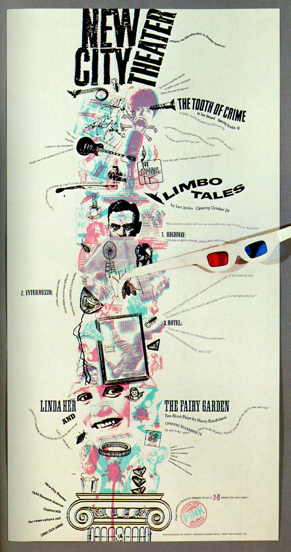 New City Theatre 3-D Poster Art Chantry Design, Seattle, Washington, 1986